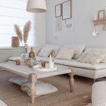Living Room, White Floor, White Wall, White Flat Sofa, Wooden Rattan Coffee Table, White Pendant