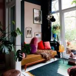 Living Room, White Wooden Floor, Green Rug, Deep Mustard Sofa Bench, Cream Wall, Glass Wall Window, Pillows,