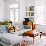 Living Room, Wooden Floor, Patterned Rug, Grey Corner Sofa, Wooden Coffee Table, Wooden Cabinet