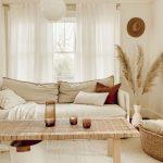 Living Room, Wooden Floor, White Rug, White Sofa, Wooden Rattan Coffee Table, Rattan Basket, White Bulubd Pendant