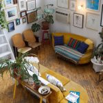 Living Room, Wooden Floor, White Wall, Yellow Soafs, Wooden Chaur, Wooden Console Table