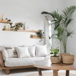 Living Room, Wooden Sofa With White Cushion, Wooden Round Coffee Table, White Planks, Rattan Rug