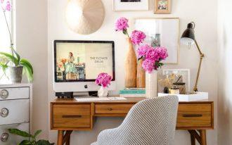 minimalist study, black floor tiles, white wall, wooden study desk, grey chair