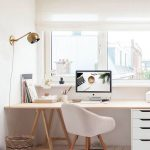 Minimalist Study, White Wooden Floor, White Wall, Wooden Table With White Drawer, White Modrn Chair, Golden Sconce, Glass Windows