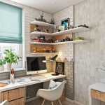 Minimalist Study, Wooden Floor, White Study Desk, White Grey Open Wall Accent, Grey Wallppaer, White Modern Chair