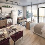 Open Room, Wooden Floor, White Bed, Wooden Cabinet, Brown Sofa, Woocen Kitchen Cabinet, White Pendant, Glass Dining Table, Marroon Chairs, Glass Windows And Doors