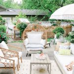 Patio, Cemented Floor, Rattan Chairs, White Sofa, Wooden Coffee Table, Rug