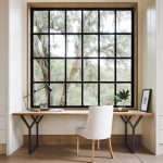 Small Study, Brown Rug, Wooden Table, White Chair, Glass Window With Black Frame