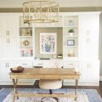 Study, Wooden Floor, Cream Wall, White Cupboard Shelves, Wooden Study Table, White Office Chair, Blue And White Rug