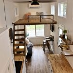 Tiny House, Wooden Floor, White Wall, Fan Ceiling Lamp, White Kitchen Cabinet With Wooden Top, Wooden Upper Level With Wooden Board