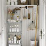 White Wooden Cupboard, Metal Shelves, Wooden Shelves
