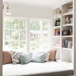 Window Seat, White Bilt In Bench With Drawers, Brown Cushion, White Built In Shelves, White Sconce