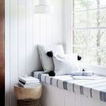 Window Seat, White Wooden Floor, White Wooden Bench, White Wooden Wall, White Blue Striped Cushion, White Sconce