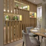 Wooden Bar Partition, Three Shelves, Wooden Floor, Grey Chairs, Wooden Round Table