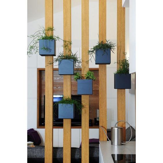 wooden bars, blue square pots