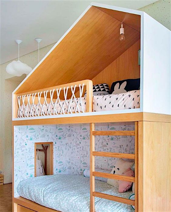 wooden bunk bed, closed box, roof on top, wooden fence with rope, vertical stairs