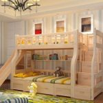 Wooden Bunk Bed, Drawers At The Bottom, Drawers Ar The Stairs, Woden Slide, Shelves
