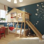 Wooden Bunk Bed, House Shaped Top, Vertical Stairs, Wooden Slide, Wooden Study Table, Red Chair