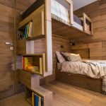 Wooden Bunk Bed, Unparalled Bed, With Vertical Shelves As Stairs,