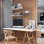 Wooden Fence Room Partition, Grey Wall, Wooden Floor, Wooden Study Set, Floating Shelves, Wooden Floating Cabinet, Bed