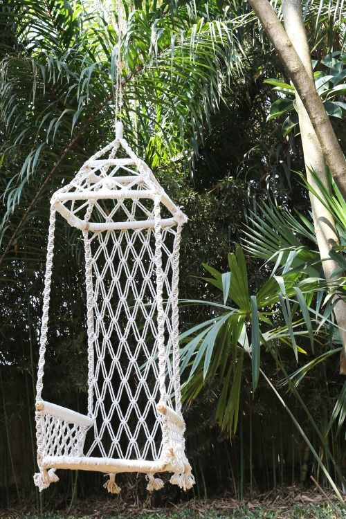 backyard, white swing with macrame back