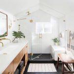 Bathroom, Black Hexagonal Floor Tiles, White Subway Wall, Wooden Cabinet With White Top, Golden Framed Mirror, Black Floor Shower, Wooden Bench