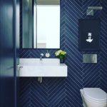 Bathroom, Dark Blue Herringbone Floor And Wall Tiles, White Toilet, White Vanity, Mirror