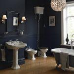 Bathroom, Dark Blue Wall, Wooden Floor, Whtie Toilet, White Sink, Grey Tub, Mirror