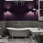 Bathroom, Grey Floor Tiles, Grey Wainscoting, Purple Wall, White Ceiling, White Chandelier, White Tub, White Toilet, White Silver Sink