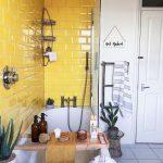 Bathroom, Grey Floor Tiles, Yellow Wall Tiles, White Tub, Glass Partition