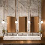 Bathroom, Marble Wall, Marble Floor, Marble Sink, Golden Vanity, Golden Framed Mirror, Golden Pendants, Golden Accent Wall