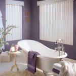 Bathroom, Purple Wall, White Curtain, White Tub, White Rug