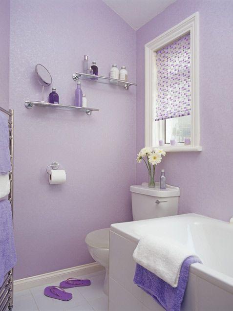 bathroom, purple wall, white floor, white tub, glass shelves