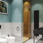 Bathroom, Terazzo Wall, Mint Green Wall, Terazzo Tiles, White Ceiling