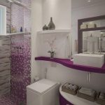 Bathroom, White Floor, White Wall, Purple Floating Shelves, Purple Cabinet, White Sink, Purple Tiles On The Wall And Floor