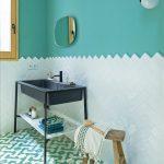 Bathroom, White Herringbone Bottom Wall, Green Wall, Pendant, Mirror, Black Basin, Green Patterned Floor Tiles