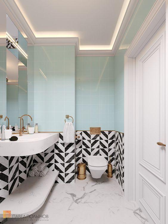 bathroom, white marble floor tiles, blue wall tiles, black white wall tiles, white floating sink vanity, white floating shelves, LED lamps on the ceiling, large mirror