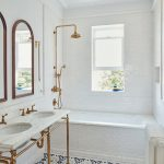 Bathroom, White Subway Tiles, Whtie Ceiling, White Pendant, White Marble Vanity Table, Golden Lines, Golden Shower Faucet