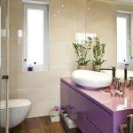 Bathroom, Wooden Floor, White Wall, Purple Wooden Cabinet, Large Mirror