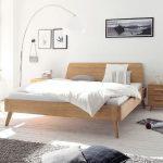 Bedroom, White Wooden Floor, White Wall, White Floor Lamp, Wooden Bed Platfom, Wooden Side Table, Grey Rug, White Bedding