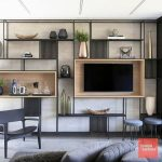 Black Metal Shelves, Brown Wall, Brown Wooden Box, Large On The Wall, Black Chair, Grey Sofa