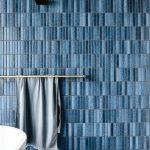 Blue Thin Wall Tiles, Grey Floor, Golden Towel Hanging Rack