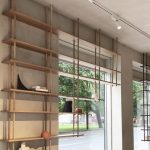 Brown Wall, Thin Wooden Ceiling Mounted Shelves, On The Window