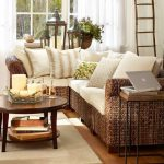 Brown Woven Rattan Corner Sofa, Wooden Floor, White Curtain, Round Wooden Coffee Table