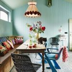 Dining Room, Blue Patterned Rug, Blue Wooden Plank, Green Plank Ceiling, Wooden Built In Bench, Wooden Table
