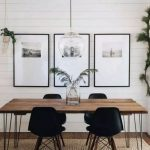 Dining Room, Wooden Floor, White Plank Wall, Glass Pendant, Wooden Table, Black Midcentury And Modern Chairs