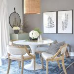 Dining Set, Black Floor, Blue Rug, White Round Table, Wooden Chairs With White Cushioin, Ratan Pendant