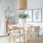 Dining Set, Black Foor, Rattan Round Rug, Wooden Chairs, White Woven Seat, Rattan Pendant, White Round Tulip Table, Round Mirror