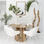 Dining Set, White Wooden Floor, White Wall, Round Wooden Table, White Rattan Chairs, White Cabinet