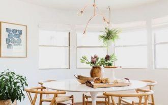 dining set, wooden floor, white tulip table, wooden chair, rattan seat